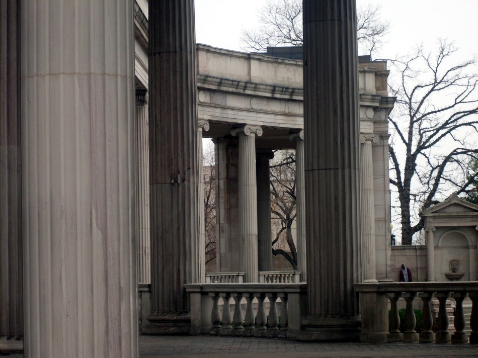 columns with hooded figure ii